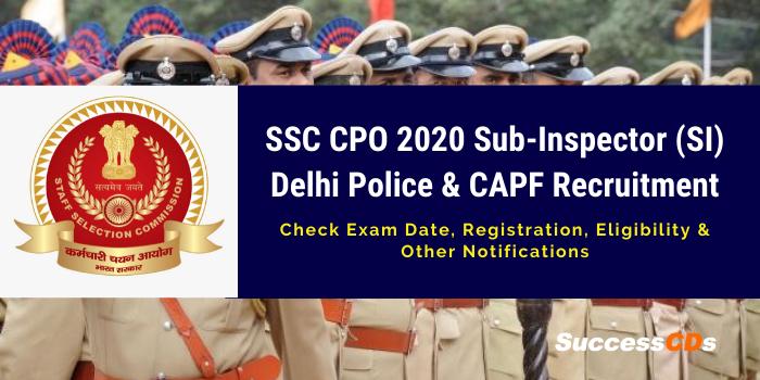 SSC SI CPO Recruitment 2020